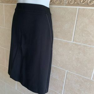 Talbots black pencil skirt faux leather accent